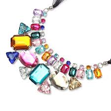 big crystal statement necklace images Luxury colorful big crystal statement necklace ribbon chain jpg
