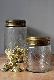 Glass Bathroom Storage Jars These Etched Glass Jars With Brass Lids For Almost Anything