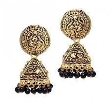 jhumki earring antique gold square shaped jhumki earring for women