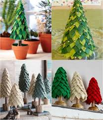 felt trees decorated with pins holidays