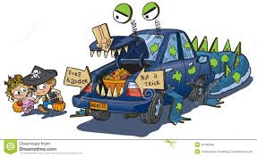 kids halloween cartoon two kids trunk or treat on halloween clip art stock photo image