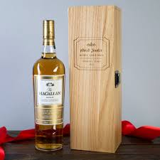 personalised macallan whisky and engraved gift box merry