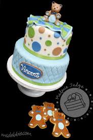 cake walk boy bear baby shower cake