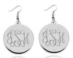 monogram earrings monogram earrings silver tone stainless steel 45f6d17c jpg