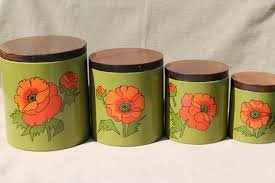 ransburg kitchen canisters set red poppies on olive green 60s