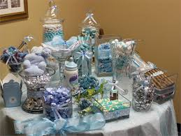 candy bar for baby shower blue baby shower candy buffet