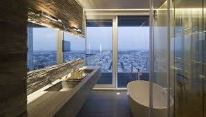 bathroom stone tiles city views elegant apartment with
