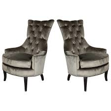 Antique High Back Chairs Ultra Chic Pair Of Mid Century Modern Tufted High Back Chairs For