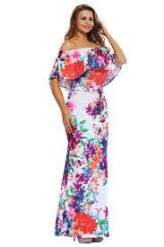 floral maxi dress women multi color floral print the shoulder maxi dress stage