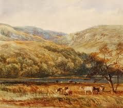 follower of david cox 1783 1859 cattle watering in a wooded