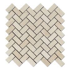 crema marfil marble polished 1 x 2 herringbone mosaic tile