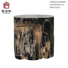 petrified wood end table black and tan polished natural petrified wood stool end table side