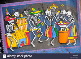 dia de los muertos decorations mexico oaxaca colourful decorations depicting skeletons as stock