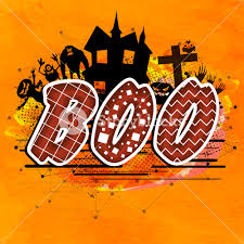 stylish text boo on scary ornaments decorated background for happy