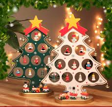 diy mini wooden tree with 15 small ornament snowman bell