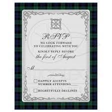 Wedding Invitations And Rsvp Cards Scottish Campbell Black Watch Tartan Wedding Rsvp Card Celtic Knot
