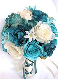 teal flowers wedding bouquets bridal silk flowers turquoise teal