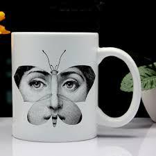 creative mug designs milan designer fornasetti plate face pattern printing mug