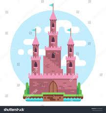 house with tower cartoon fairy tale pink alcazar castle stock vector 511864429