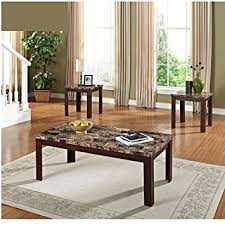 3 piece end table set amazon com faux marble 3 piece coffee and end table set brown and