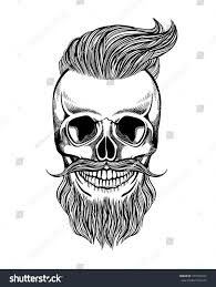 skull hipster mustache beard coloring page stock vector 473792224