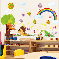 popular wall stickers animals buy cheap wall stickers animals lots new diy cartoon rainbow wall sticker kindergarten kids room cartoon animal wall stickers living room