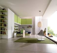 decoration modern study room for kids with painting on white wall