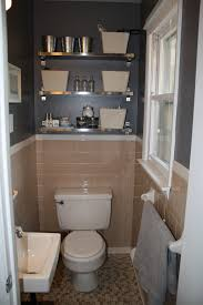 Shelves In Bathrooms Ideas by Peach Tile Bathroom With Grey Walls Plus Fun Shiny Shelves In The