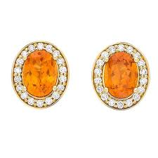 garnet stud earrings yellow gold pave set white diamond brilliant orange garnet stud