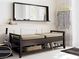 Storage Seating Bench Furniture Storage Bench Short Split Seat Storage Gray Wall Paint