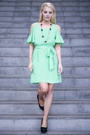 shoulder country style ruffle dress