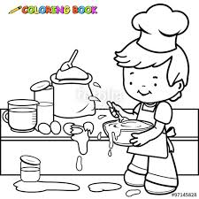 boy cooking making mess coloring book