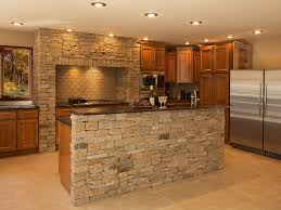 used kitchen island natural stone around the island and stove colonial tan ledgestone