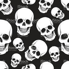 Halloween Skeleton Pattern by Black And White Skull Seamless Pattern Stock Vector Art 501595641