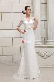half sleeves keyhole back v neck designer lace wedding dress