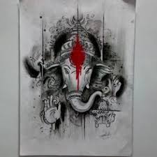 charcoal lord ganesha by swanand bhagat charcoal sketch by