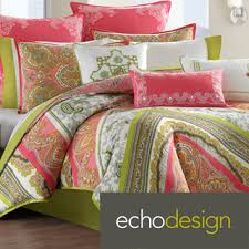 Echo Bedding Sets Echo Gramercy Pink Green Paisley Print Cotton 3 Comforter