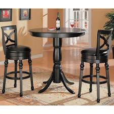 Turned Pedestal Bistro Table Coaster Lathrop Classic Round Pedestal Pub Table In Black Finish