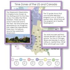 United States Map Time Zones by Time Zones Maps And Questions For Exploration U2013 Montessori 123