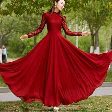 beautiful dress beautiful lace closed neck women maxi dress dress for less