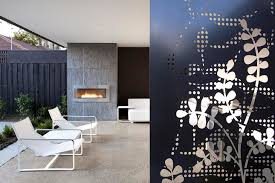 polished concrete floor fireplace tiled feature wall patterned