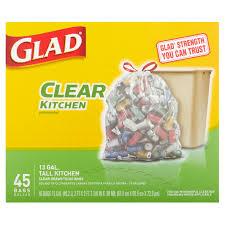 glad clear recycling tall kitchen drawstring trash bags 13 gallon