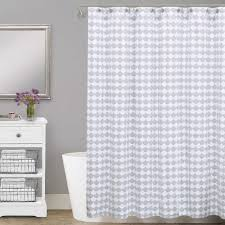 Gray Shower Curtains Fabric Floating Wooden Cabinet Glass Bowl Sink The Top Grey Fur Rug On