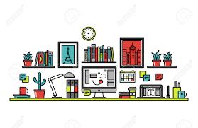 Line Desk Thin Line Flat Design Of Graphic Designer Workplace Desk Royalty