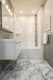 mixing marble glass and ceramic tiles adds interest and allows