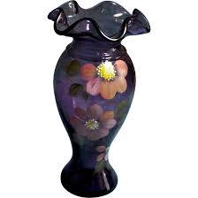 Tall Purple Vase Fenton Amethyst 9 5 Inch Tall Ruffled Top Vase With Hp Flowers