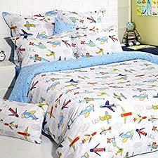 Boys Duvet Covers Twin Amazon Com Lullaby Bedding 200 Fqair Airplanes Cotton Printed