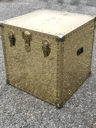 brass trunk coffee table mid century brass trunk side table mid century small coffee