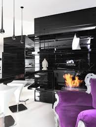 black white purple bedroom interior design