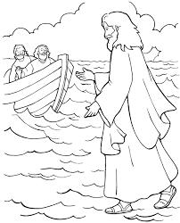 jesus walks on water coloring page